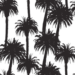 Seamless pattern with palm trees in vector
