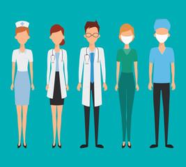 Set of avatar doctor character for medicine. Flat design vector.