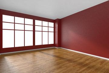 Empty room with parquet floor, red textured walls and big window