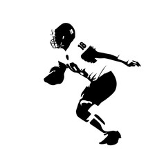 Running american football player, abstract vector silhouette