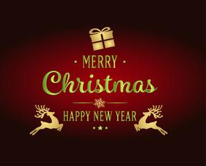 Открытка, рождество, подарок, олени