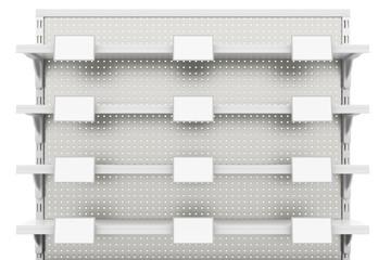 Empty supermarket shelves isolated on white background. Include