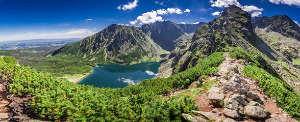 Wonderful panorama of Czarny Staw Gasienicowy in Polish Mountains