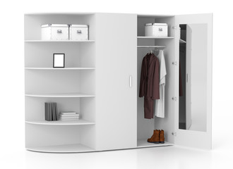 Open wardrobe isolated on white background. Include clipping pat
