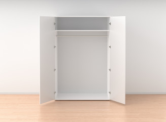 Empty open wardrobe isolated against the white wall in bright in