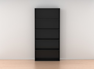 Empty wooden bookcase isolated against the white wall in bright
