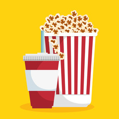 pop corn soda straw food cinema vector illustration eps 10