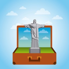 brown suitcase with iconic momument of brazil. over sky background. vector illustration