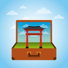 brown suitcase with iconic momument of china . over sky background. vector illustration