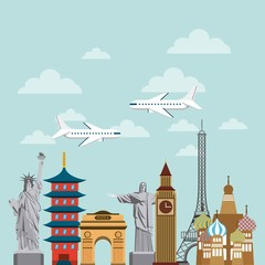 iconic monuments of the world. colorful design. vector illustration