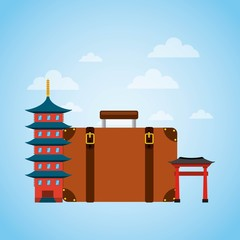 brown suitcase with iconic momument of china. over sky background. vector illustration
