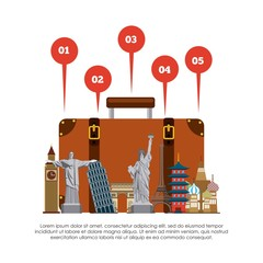 infographic with iconic monuments of the world over white background. colorful design. vector illustration