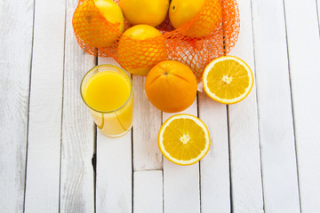 fresh orange juice wooden rustic background
