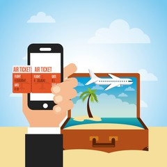 brown suitcase with beach landscape and human hand holding a  smartphone with air ticket on screen. colorful design. vector illustration