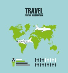 infographic presentation of travel with world map over blue background. vector illustration
