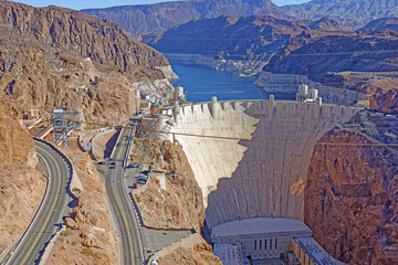 View from the Mike O'Callaghan-Pat Tillman Memorial Bridge of the famous Hoover Dam near Las Vegas,, Nevada