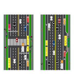 Road infographics. Plot road, highway, street. Intersection. With different cars. Green traffic light for cars. The loaded road maps and public transport. Top view of the highway.  illustration