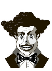 evil clown sketch Isolated on white