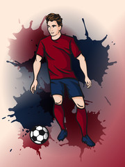 Soccer player kicks the ball. Vector cartoon football player