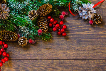 Christmas frame with festive tree