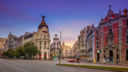 Madrid. Panoramic cityscape image of Madrid, Spain during sunrise.