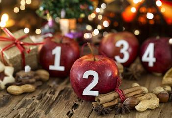 2. Advent Hintergrund Karte Äpfel