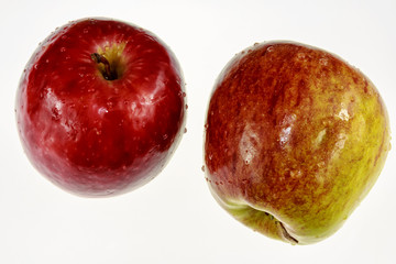 Two ripe red-yellow apples