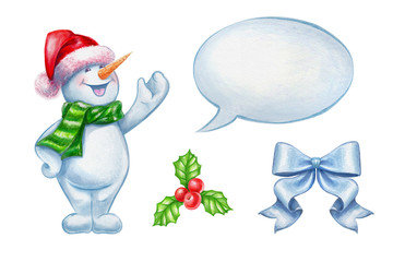 Christmas clip art set isolated on white background, snowman, holly, bow, talking balloon watercolor illustration