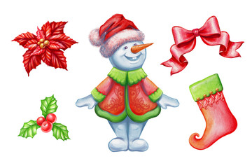 Christmas clip art set isolated on white background, snowman, poinsettia flower, bow, holy berry, stocking, watercolor illustration