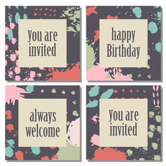Set of four cards with abstract design.