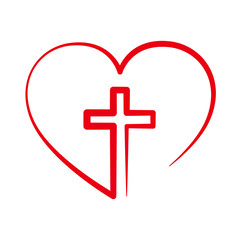 Christian cross inside in the heart. Vector illustration.