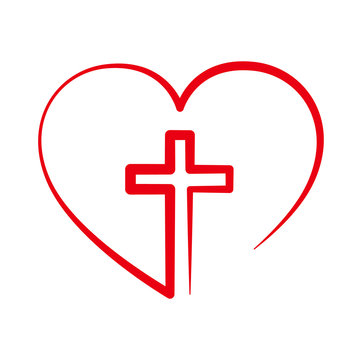 Christian cross inside in the heart. Vector illustration.