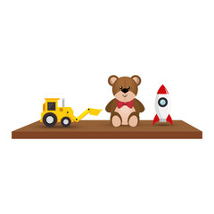 Shelf with toys icon vector illustration design