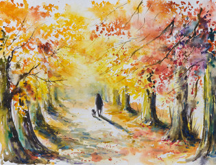 Man walking with a dog in autumn park.Picture created with watercolors.