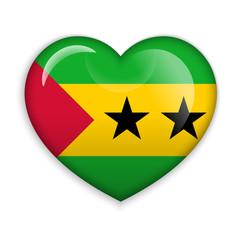 Love Sao Tome and Principe. Flag Heart Glossy Button