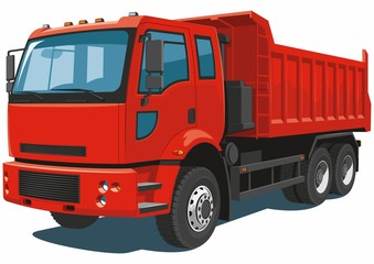 Vector isolated red dump truck on white background.
