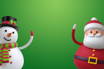 3d render, digital illustration, snowman and santa claus isolated on green background, Christmas holiday poster