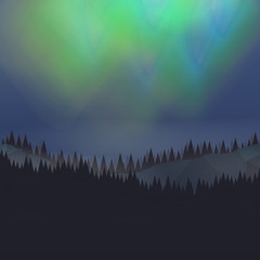 Forest Landscape with Northern Aurora - Vector Illustration