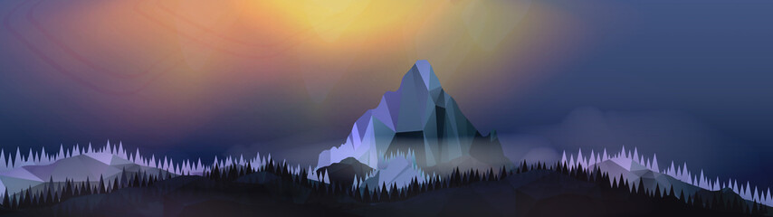 Mountains Landscape with Northern Aurora Panorama - Vector Illus