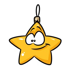 Yellow star Christmas toy cartoon illustration isolated image character