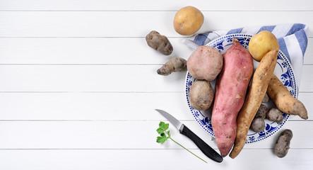 Five varieties of potatoes