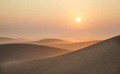 Sunrise in a desert near Dubai