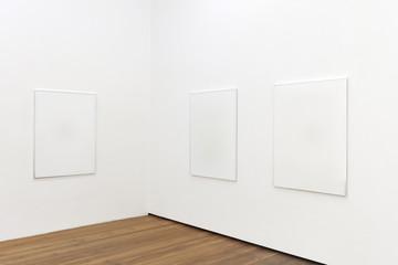 Mockup of empty gallery with wooden floor. 3d render