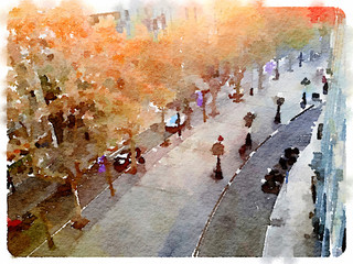 Digital watercolor painting of La Rambla street in Barcelona Spain on a day in Autumn. Space for text.
