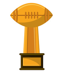 Trophy of american football icon. Sport hobby competition and game theme. Isolated design. Vector illustration