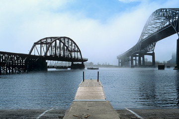 Bridges and dock in the fog in Duluth, Minnesota