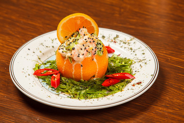 Stuffed with shrimp orange