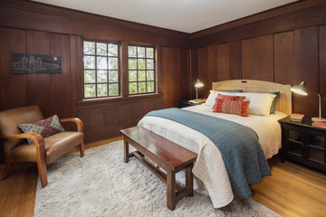 Wooden Antique Bedroom interior.