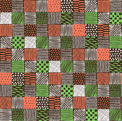 Seamless texture with a graphic pattern of squares. Drawn by hand, illustration.