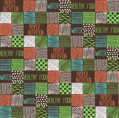 Seamless texture with a graphic pattern of squares.Drawn by hand, vector illustration